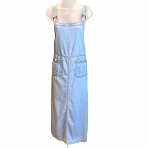 Sag Harbor Denim Overall Dress with Embroidery